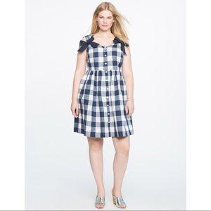 Eloquii Gingham Button Front Bow Dress